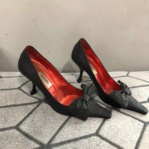 Moschino Black Bow Pumps Heels Sparkle Glitter